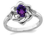 Ladies Natural Amethyst Ring 7/10 Carat (ctw) in Sterling Silver