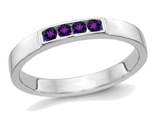 1/7 Carat (ctw) Natural Amethyst Wedding Band Ring in 14K White Gold