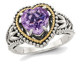 2.00 Carat (ctw) Natural Amethyst Heart Promise Ring in Sterling Silver with 14K Gold Accents
