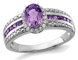 3/4 Carat (ctw) Natural Amethyst Ring with Synthetic White Topaz 1/4 Carat (ctw) in Sterling Silver