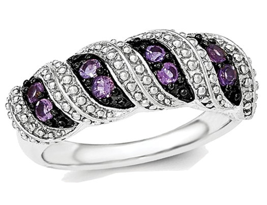 1/3 Carat (ctw) Natural Amethyst Ring in Sterling Silver and Black Rhodium
