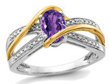 3/4 Carat (ctw) Natural Amethyst Ring in 14K White and Yellow Gold