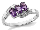 Ladies 1/2 Carat (ctw) Natural Amethyst Three Stone Ring in Sterling Silver
