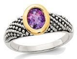 4/5 Carat (ctw) Natural Amethyst Ring in Sterling Silver with 14K Gold Accents