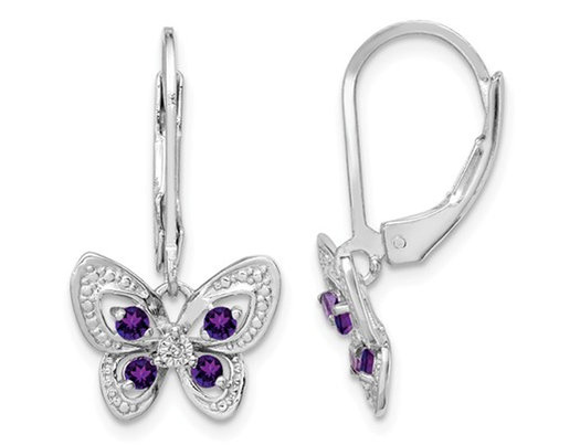 1/4 carat (ctw) Natural Amethyst Butterfly Leverback Earrings in Sterling Silver