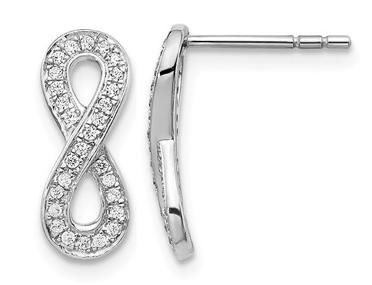 1/6 Carat (ctw) Diamond infinity Earrings in 14K White Gold