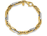 Men's Two Tone 14K White and Yellow Gold Link Bracelet in Polished 14K Yellow Gold (7.75 Inches)