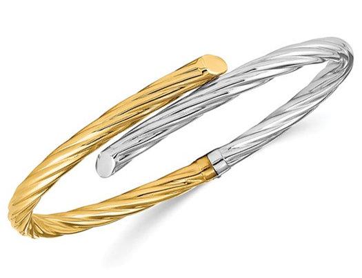 14K White and Yellow Gold Polished Twisted Bangle Bracelet