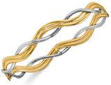 14K White and Yellow Gold Polished Braided Bangle Bracelet