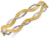 14K White and Yellow Gold Polished Braided Bangle Bracelet