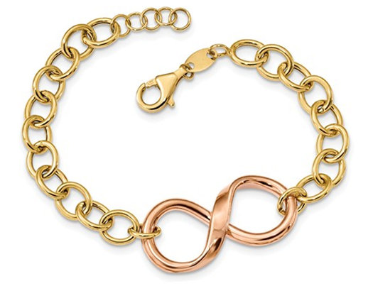 14K Yellow and Rose Pink Gold Link Infinity Bracelet (7.00 Inches)