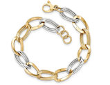 14K White and Yellow Gold Link Bracelet in Polished 14K Yellow Gold (8.00 Inches)