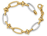 14K White and Yellow Gold Polished Link Bracelet (7.75 Inches)
