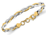 14K White and Yellow Gold Twisted Bangle Bracelet