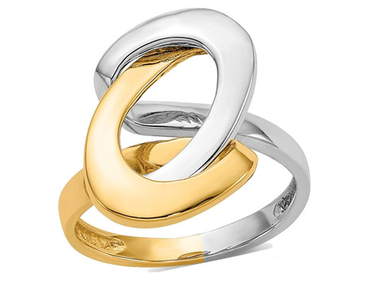 Ladies 14K Yellow and White Gold Polished Swirl O Ring