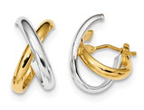 14K Two-tone White and Yellow Gold Polished Hoop Earrings