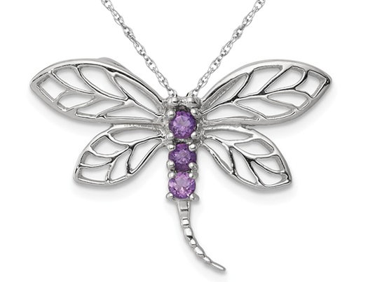 1/6 Carat (ctw) Natural Amethyst Dragonfly Pendant Necklace in Sterling Silver with Chain
