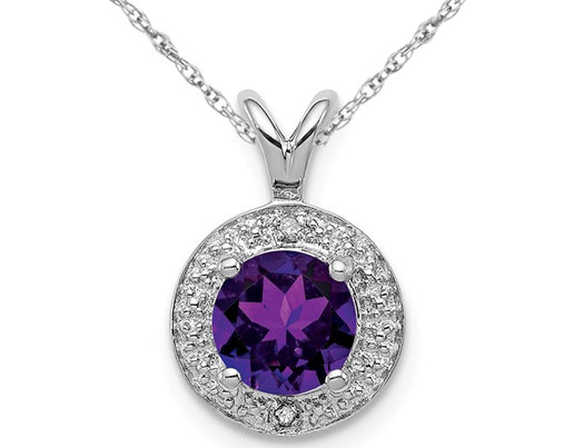 3/4 Carat (ctw) Natural Amethyst Halo Pendant Necklace in Sterling Silver with Chain