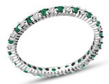 3/10 Carat Natural Emerald Eternity Band in 14K White Gold with Diamonds 1/4 Carat (ctw H-I, I1-I2)
