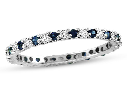 3/10 Carat Natural Blue Sapphire Eternity Band in 14K White Gold with Diamonds 1/4 Carat (ctw H-I, I1-I2)