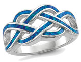 Lab Created Blue Opal Inlay KNot Ring in Sterling Silver