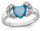 Lab Created Blue Opal Heart Ring in Sterling Silver