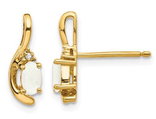 Opal Post Earrings 1/3 Carat (ctw) in 14K Yellow Gold