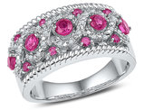 1.00 Carat (ctw) Lab Created Pink Sapphire Ring in Sterling Silver with Diamonds