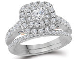 9/10 Carat (Color H-I, I1) Halo Diamond Engagement Ring Bridal Wedding Set in 14K White Gold