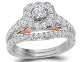 9/10 Carat (Color H-I, I1) Halo Diamond Engagement Ring Bridal Wedding Set in 14K White Gold