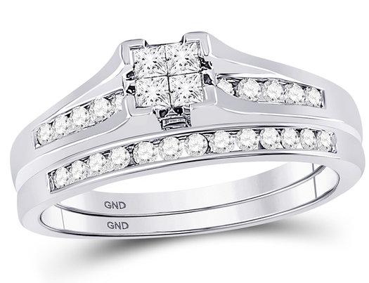 1/2 Carat (Color I-J, I2) Princess Cut Diamond Engagement Ring Wedding Set in 10K White Gold