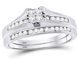 1/2 Carat (Color I-J, I2) Princess Cut Diamond Engagement Ring Wedding Set in 10K White Gold