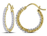 1.00 Carat (ctw I-J, I2-I3) Diamond In and Out Hoop Earrings in 10K Yellow Gold