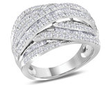 1.50 Carat (ctw H-I, I1-I2) Cocktail Cross Over Ring in 10K White Gold