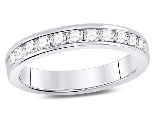 1/2 Carat (ctw H-I, I1-I2) Diamond Anniversary Ring Band in 14K White Gold