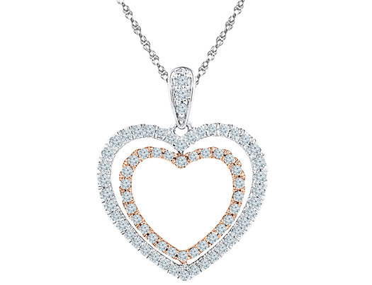 1/2 Carat (ctw Color H-I Clarity I2-I3) Diamond Heart Pendant Necklace in 10K White Gold with Chain