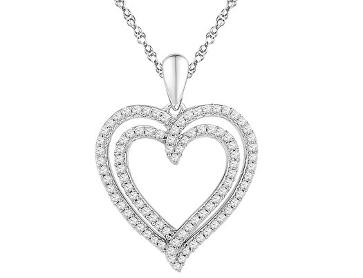 1/2 Carat (ctw Color J-K Clarity I2-I3) Diamond Heart Pendant Necklace in 10K White Gold with Chain