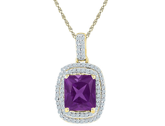 2.30 Carat (ctw) Lab Created Amethyst Pendant Necklace in 10K Yellow Gold with Diamonds and Chain