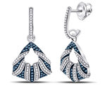 1/2 Carat (ctw) Enhanced Blue and White Diamond Dangle Earrings in 10K White Gold