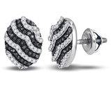 White and Black Diamond Stud Earrings 3/8 Carat (ctw) in 10K White Gold
