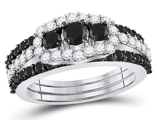 2.00 Carat (ctw I2-I3, J-K) White and Black Diamond Engagement Ring Bridal Set in 10K White Gold