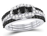 2.00 Carat (ctw I2-I3, J-K) White and Black Diamond Engagement Ring Bridal Set in 10K White Gold