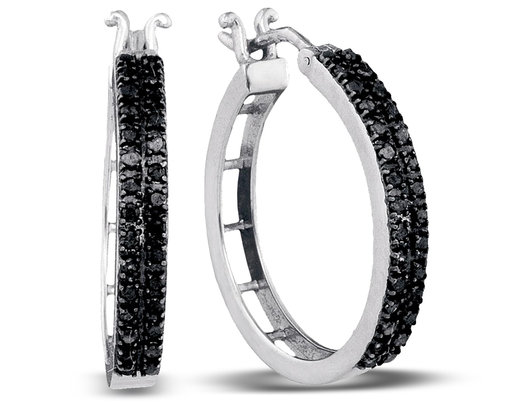 1 2 Carat Ctw Black Diamond Hoop Earrings In 10k White Gold
