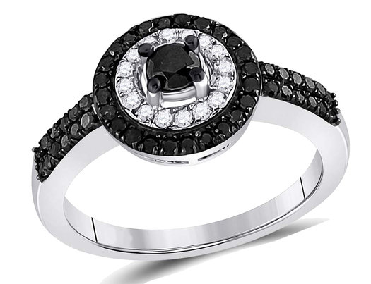 7/10 Carat (ctw I2-I3, I-J) White and Black Diamond Halo Engagement Ring in 10K White Gold