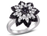 7/8 Carat (ctw I2-I3, I-J) White and Black Diamond Flower Cluster Ring in 10K White Gold