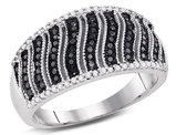 3/8 Carat (ctw I2-I3) Black and White Diamond Ring in 10K White Gold