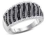 3/8 Carat (ctw I2-I3) Black and White Diamond Ring in 10K White Gold