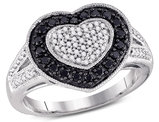 1/2 Carat (ctw I2-I3) Black and White Diamond Heart Promise Ring in 10K White Gold
