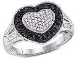 1/2 Carat (ctw I2-I3) Black and White Diamond Heart Promise Ring in 10K White Gold