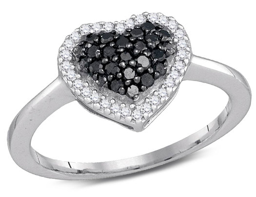 1/3 Carat (ctw I2-I3) Black and White Diamond Heart Promise Ring in 10K White Gold